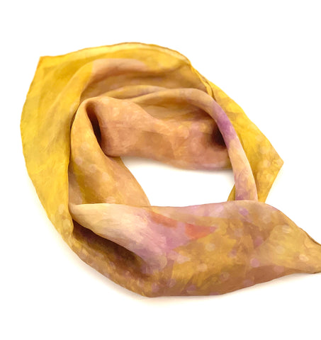Designer Silk Scarf muted gold hues