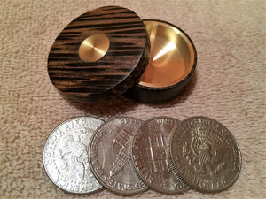 Custom Exotic Wood/Brass Okito Boxes (fits Morgan Dollars)