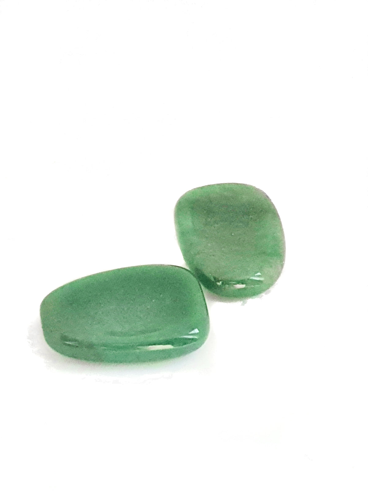 two green aventurine worry stones