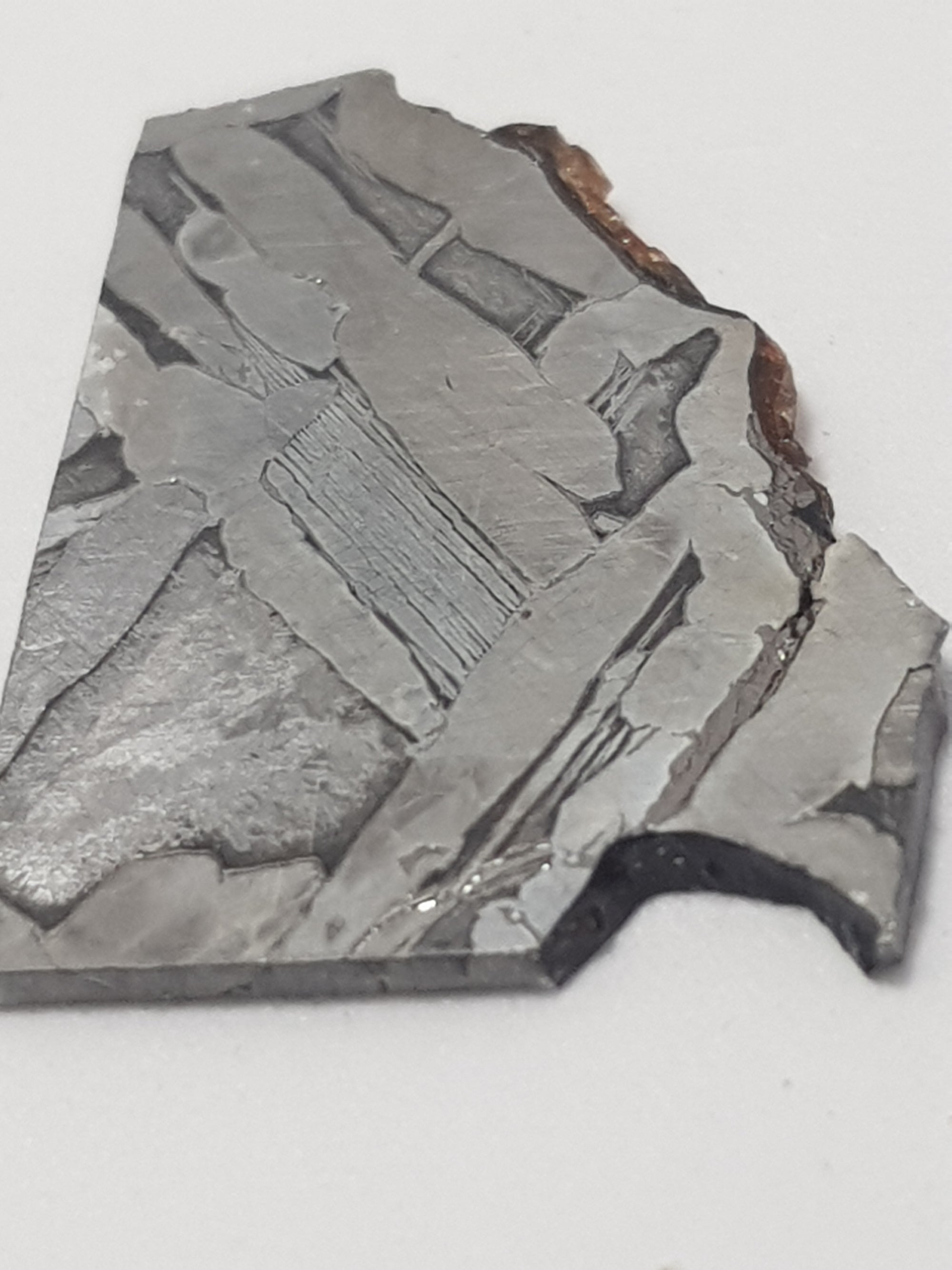 an acid etched cross section of fukang. The sample has straight edges where it has been cut. there is a gap on the bottom right and a rough edge along the top right. The edge on the top right shows signs of remnants of a reddish brown material. These were the locations of olivine crystals which are not present on this sample. The metal has a distinctive widmanstatten pattern.