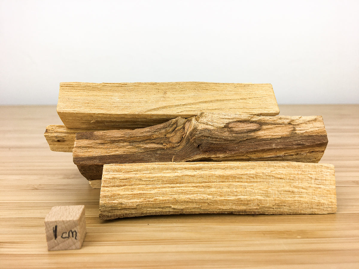 A pile of sticks of palo Santo (a naturally  aromatic wood). This stack of sticks is next to a 1cm cube for scale. The sticks are about 5cm long