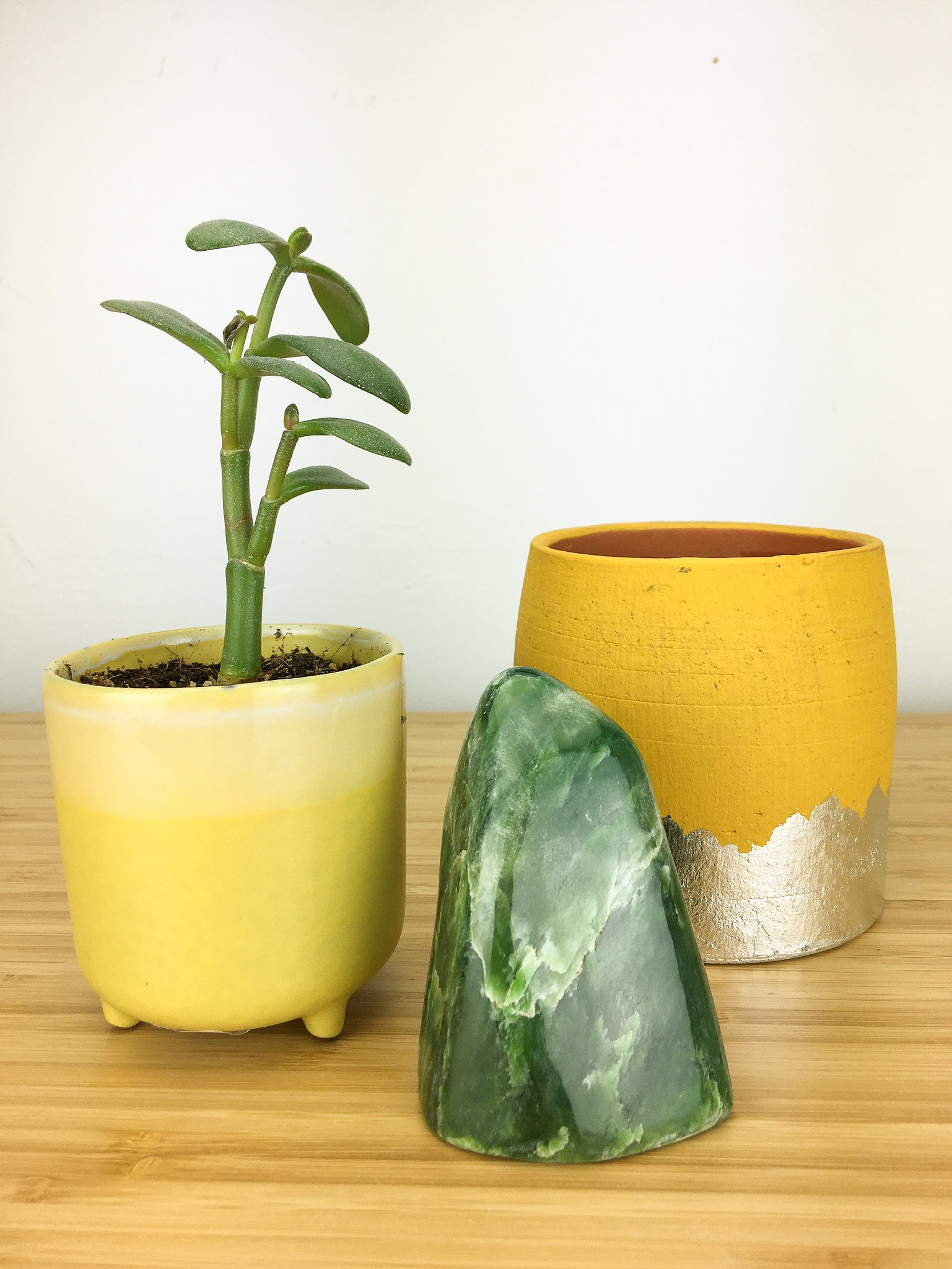 A nephrite jade freeform which is displayed next to a pot plant for scale