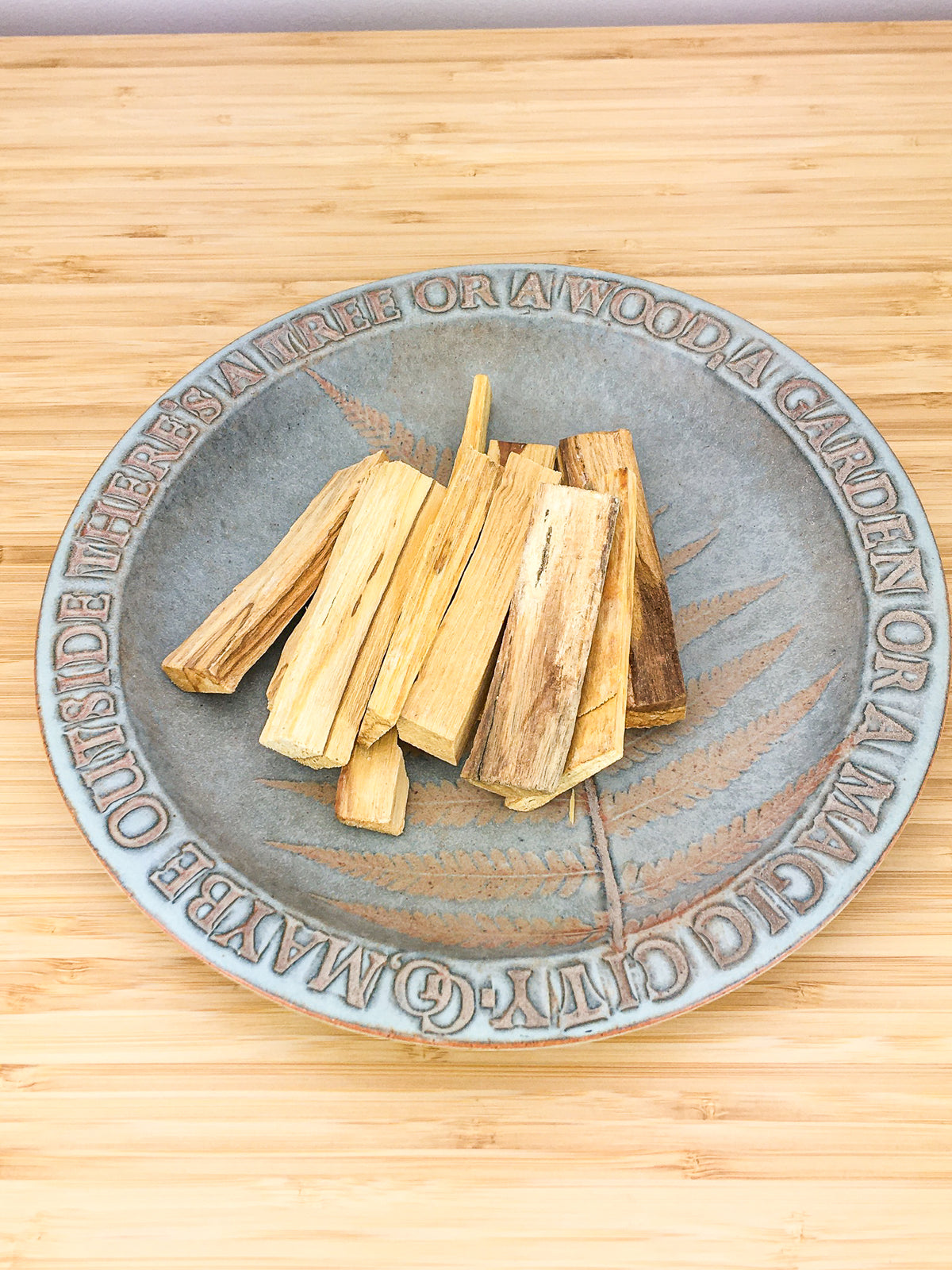 Stick sod Palo Santo (an aromatic wood) on a ceramic plate