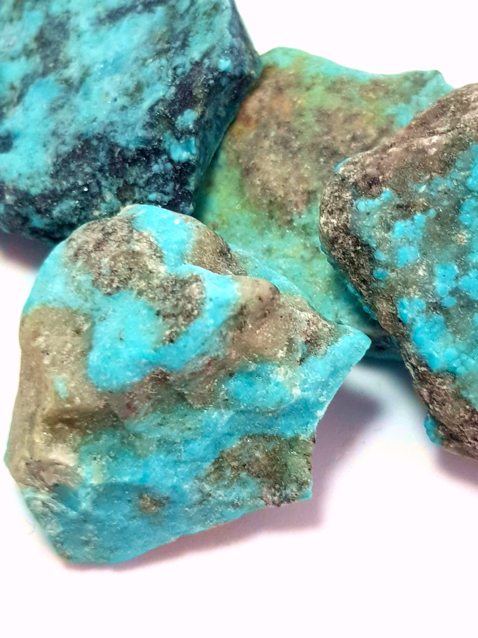 raw samples of kingman turquoise. The turquoise has a strong blue tint to it