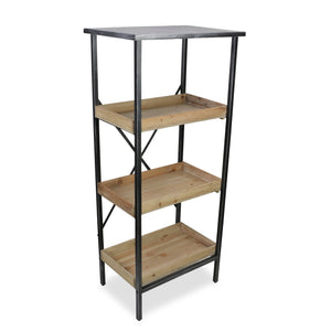 Cheungs - Metal Storage Rack with 3 Wooden Shelves