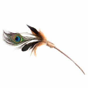 Natural Cat Toy - Short Silver Vine Peacock Feathers Teaser Toy - 25cm Handle