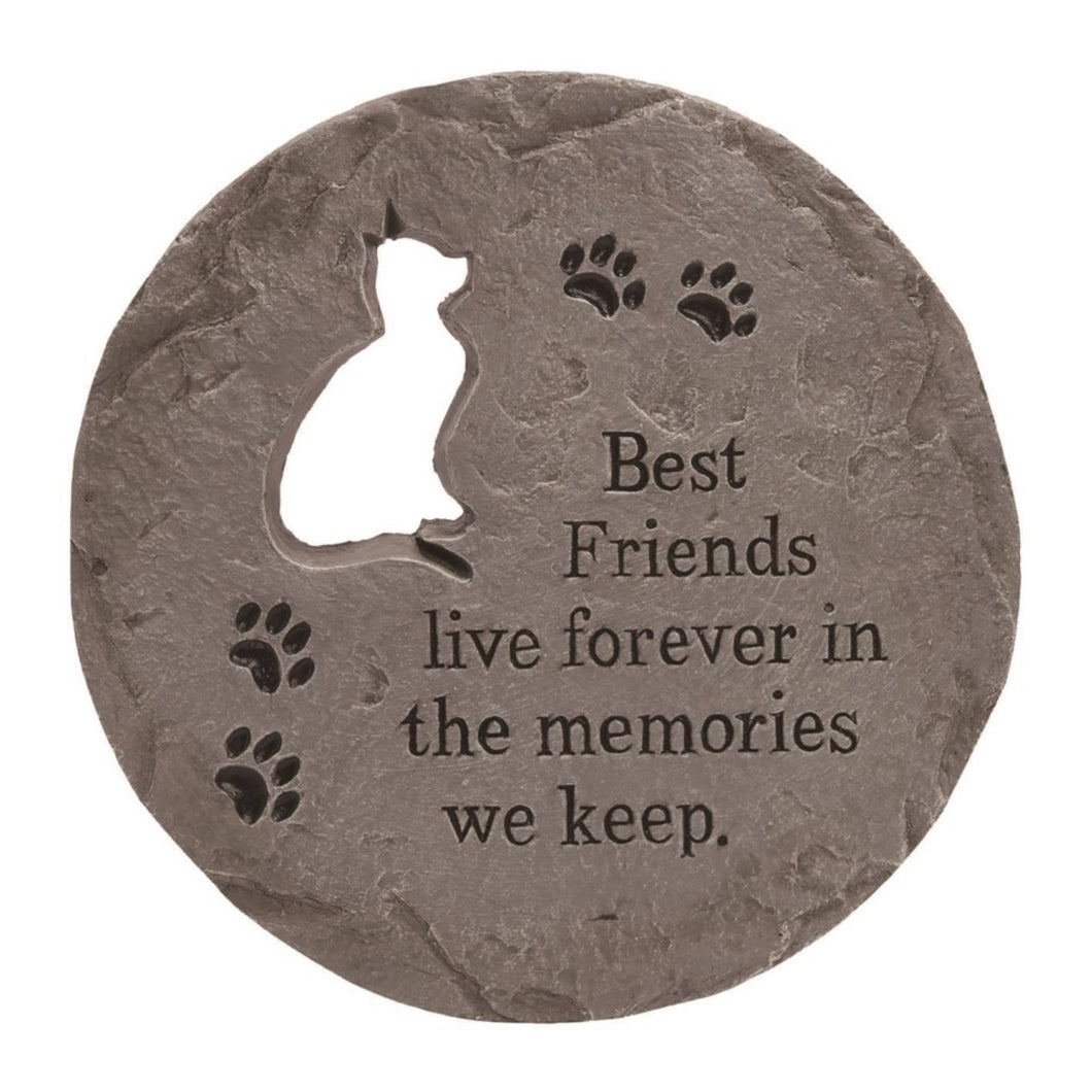 Stone 12 in. Gray Spring Cat Cutout Stepping Stone