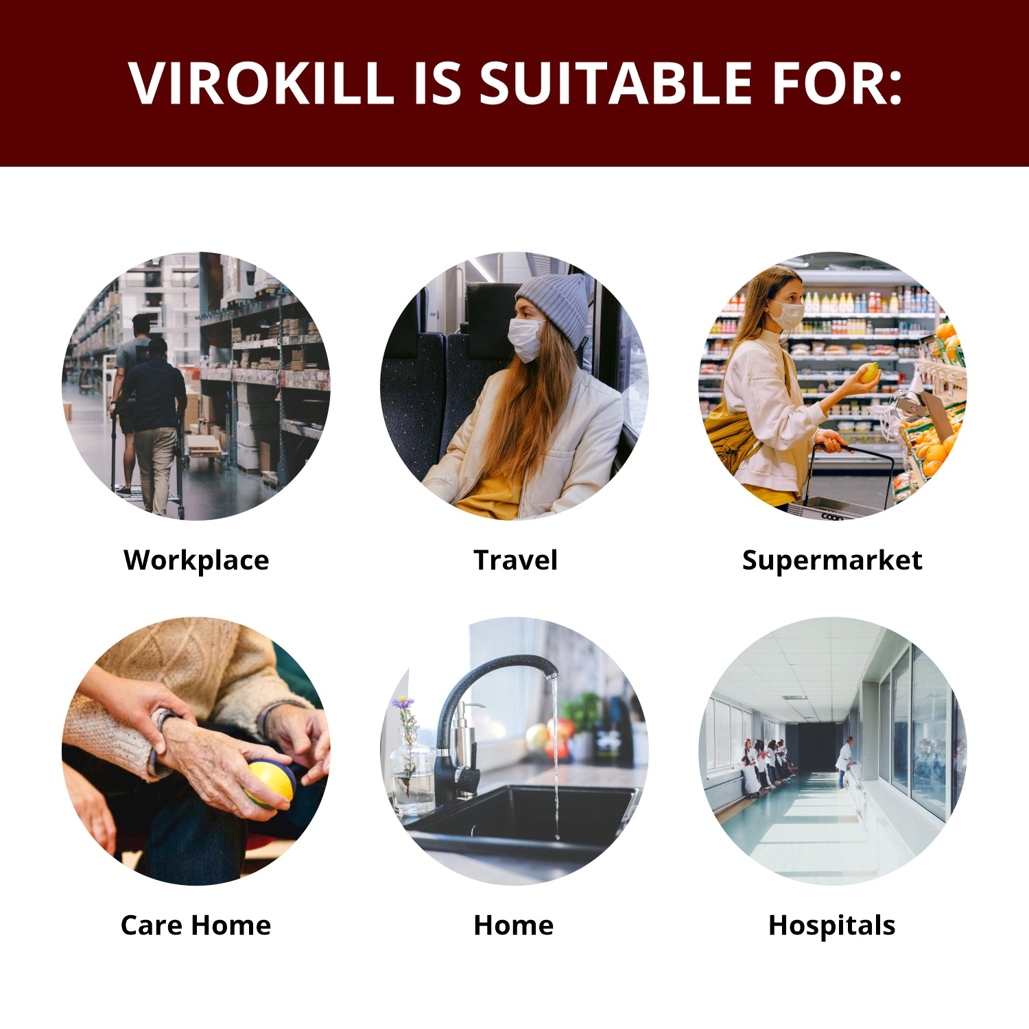 3 X 500ml Virokill™ 70% Alcohol-Based Surface Spray (3 bottles of 500ml per pack + 1 trigger spray)