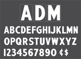 "6"" ADM Rigid Changeable Sign Letter - White letters & numbers"