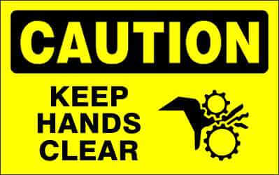 CAUTION - KEEP HANDS CLEAR - CA600