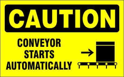CAUTION - CONVEYOR STARTS AUTOMATICALLY - CA640