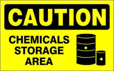 CAUTION Sign - CHEMICALS STORAGE AREA
