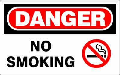 DANGER Sign - NO SMOKE