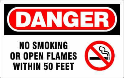 DANGER Sign - NO SMOKING or OPEN FLAME within 50 Feet