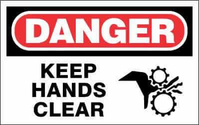 DANGER - KEEP HANDS CLEAR - DA600