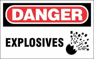 DANGER Sign - EXPLOSIVES