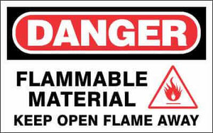 DANGER Sign - FLAMMABLE MATERIAL KEEP OPEN FLAME AWAY