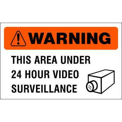 WARNING Sign - 24 HOUR VIDEO SURVEILLANCE IN EFFECT