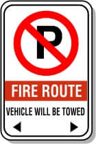 No Parking Fire Route Sign