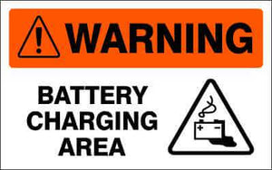 WARNING Sign - BATTERY CHARGING AREA