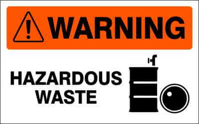 WARNING Sign - HAZARDOUS WASTE