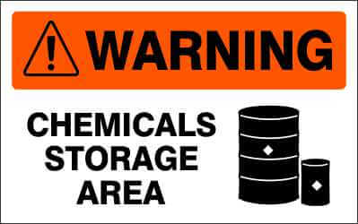 WARNING - CHEMICALS STORAGE AREA - WA970