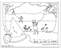 Summer Coloring Pages (FREE) Give God Thanks for Summertime  (download only)