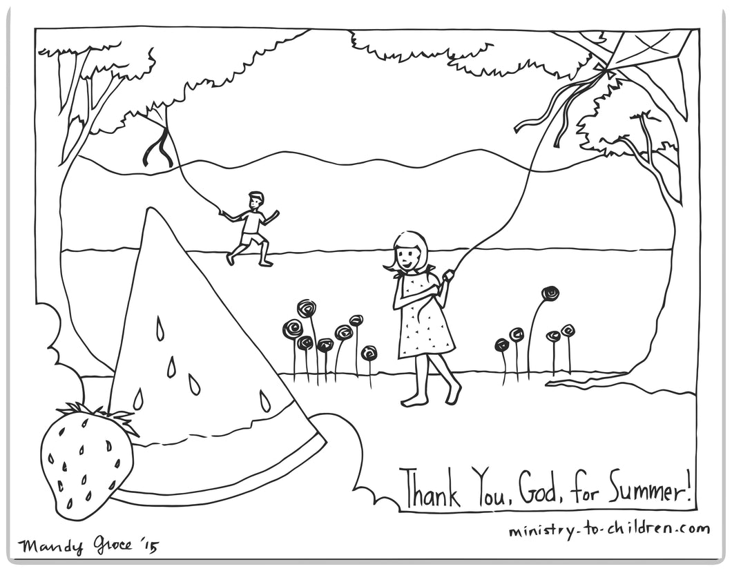 Thank You, God, for Summer! Coloring Sheet for Sunday School Kids