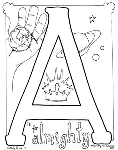 Bible Alphabet Coloring Pages (26 pages) Teacher Talking Points