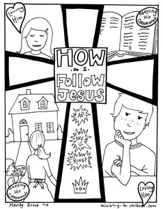 How do I follow Jesus coloring page