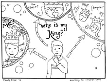 Load image into Gallery viewer, Who is my king coloring page - boy version