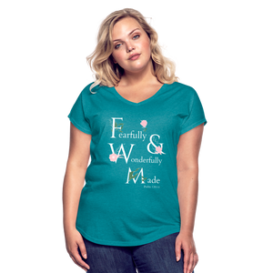 Fearfully & Wonderfully Made - Women's Tri-Blend V-Neck T-Shirt - heather turquoise