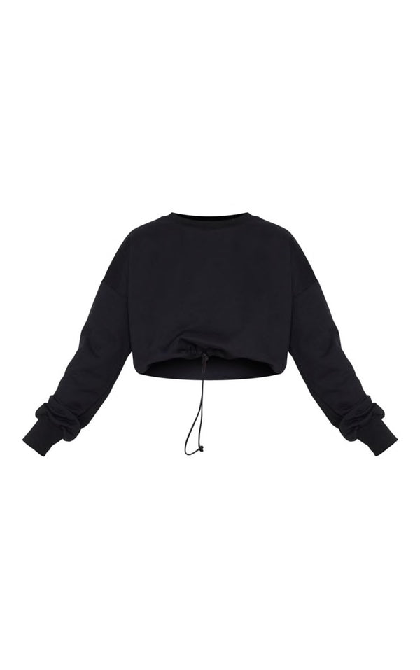 Cropped Drawstring Sweatshirt