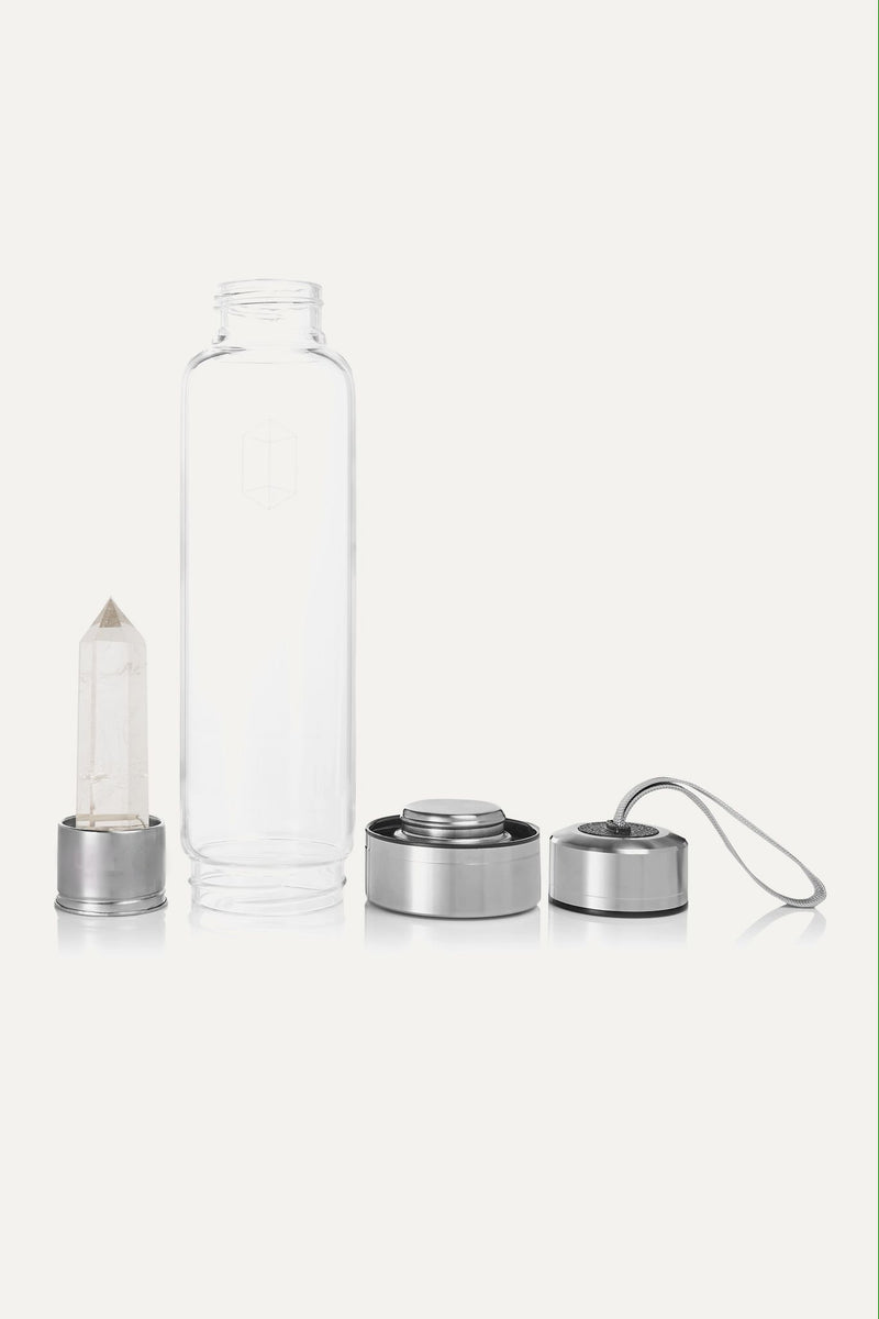 CLEAR QUARTZ CRYSTAL-INFUSED WATER BOTTLE