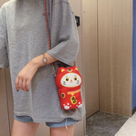 Load image into Gallery viewer, Lucky cat purse - Shy red