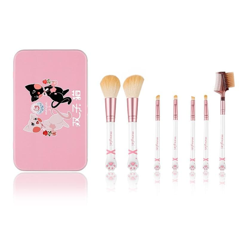Cat paw 7-piece makeup brush set