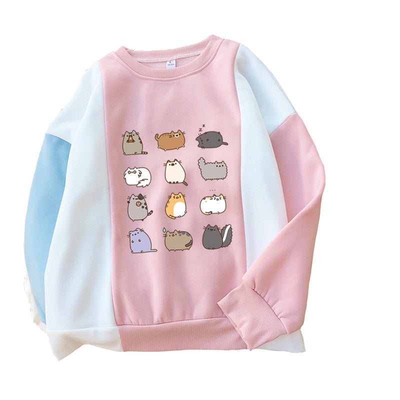 Pusheen cotton crew neck sweatshirt in blue or pink