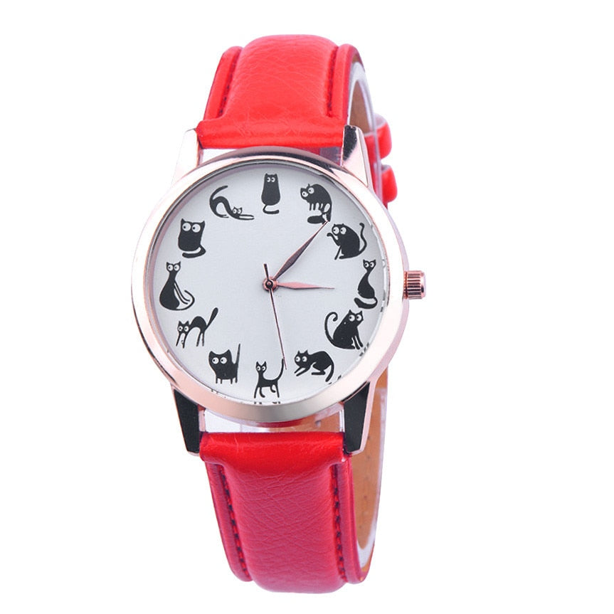 Watch with cat dial - red