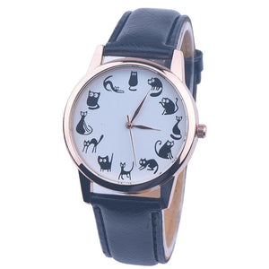 Watch with cat dial - black