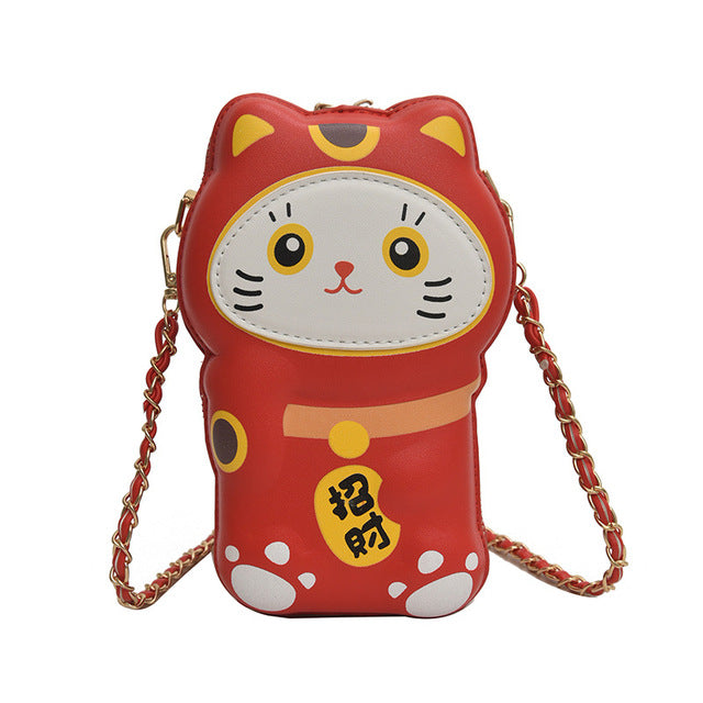 Lucky cat purse - Shy red