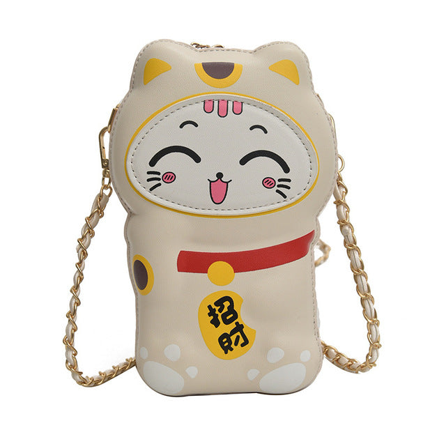Lucky cat purse - Happy beige