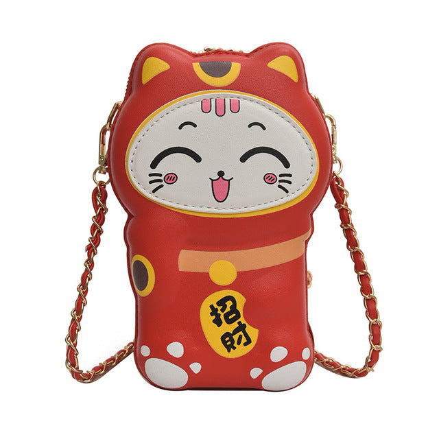 Lucky cat purse - Happy red