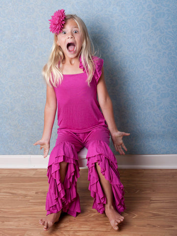 B0007 - L1066 - Pixie Girl Dark Fuchsia Flamenco Pants