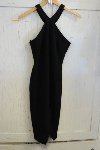Black Halter Dress with Overlap Hem