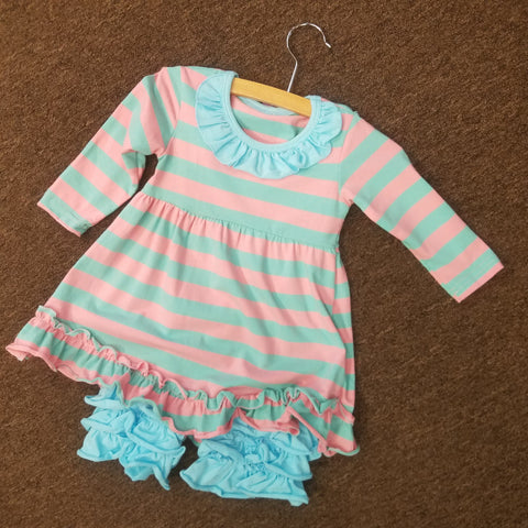 B0007 - L767 - Aqua Blue Ruffle Set