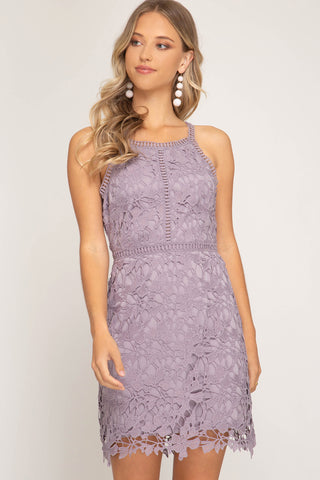 Sleeveless Lace Bodycon Dress w/lining
