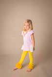 B0007- L1088- DollBaby Yellow Ruffle Leggings