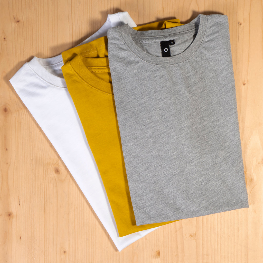 T-Shirts, grey, white, mustard