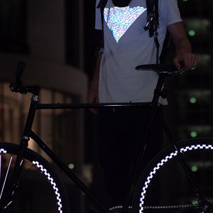 Reflective Flow tshirt, night reflection, city, bicycle