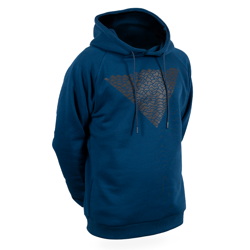 Reflective Hoodie, navy blue, Waves, front